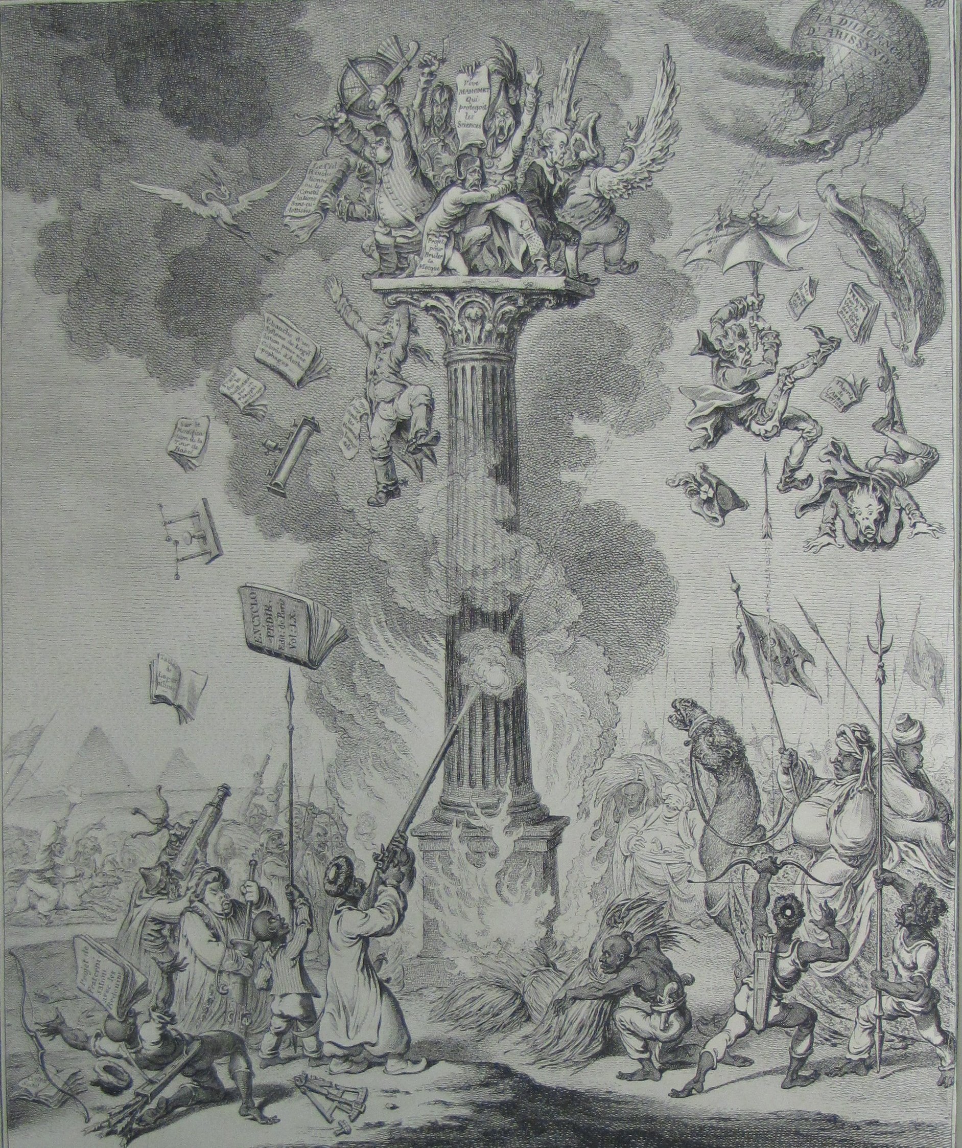 Image of a battle staged between those atop a pillar and those beneath them on the ground