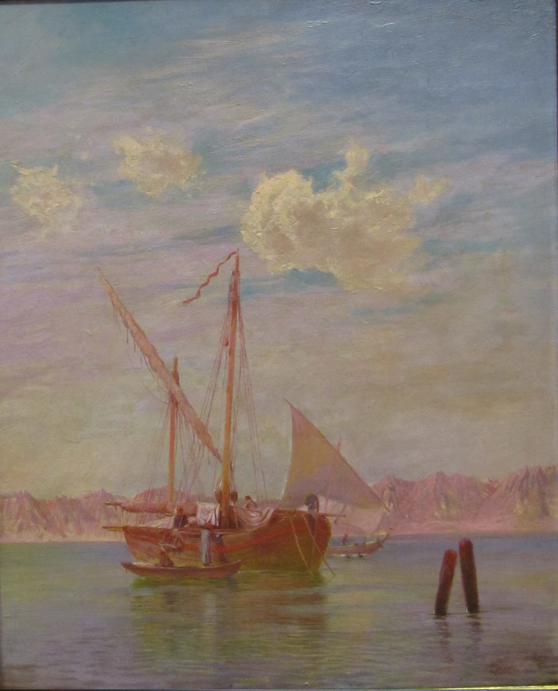 Painting of a boat with sail on the Suez