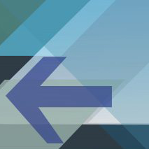 Image of a blue arrow from promotional poster for the workshop on Political Polarization and Epistemic Arrogance