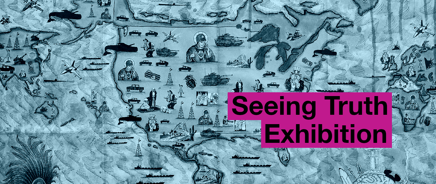 "Banner image of map by Chagoya with ""Seeing Truth Exhibition"" overlain on it."