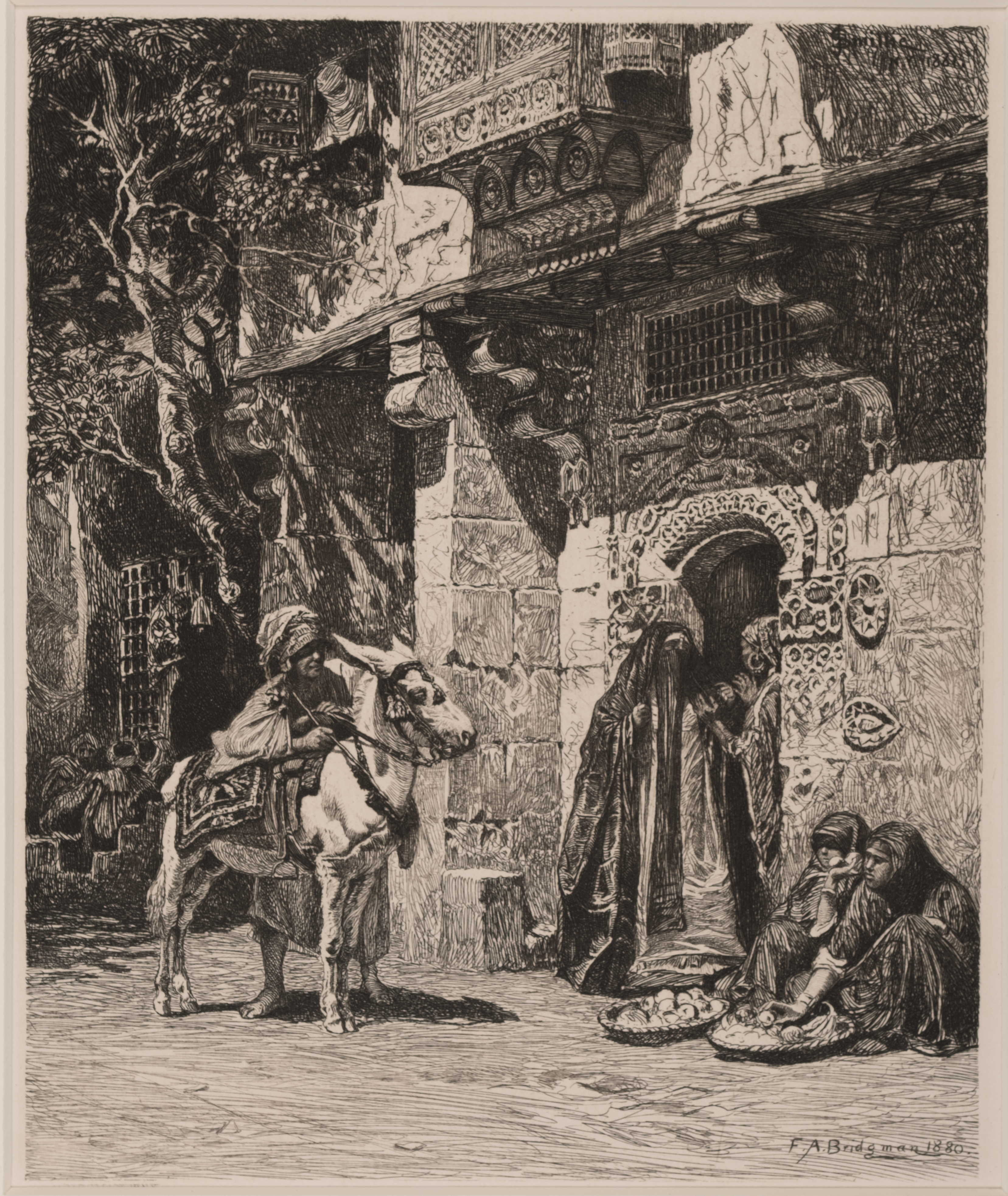 Etching of a person by a white horse approaching people talking and selling goods in a doorway