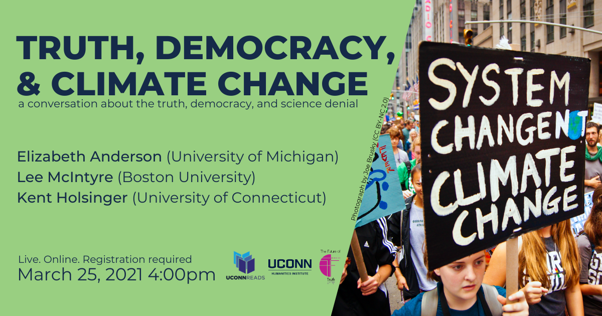 Poster for UConn Reads: Truth, Democracy, and Climate panel