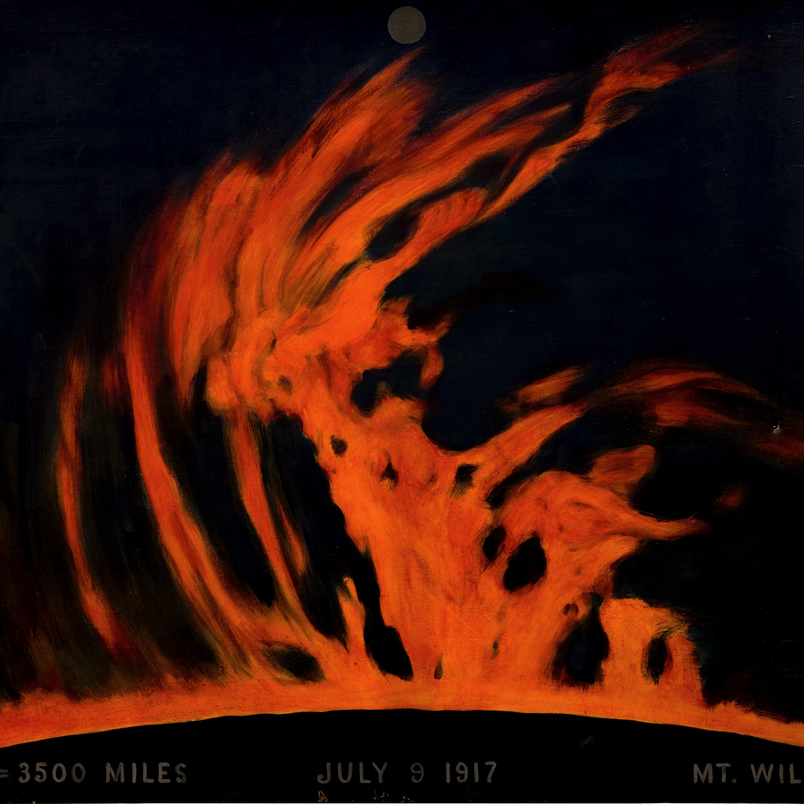 Painting of chromosphere of sun, from Mt. Wilson, July 9, 1917