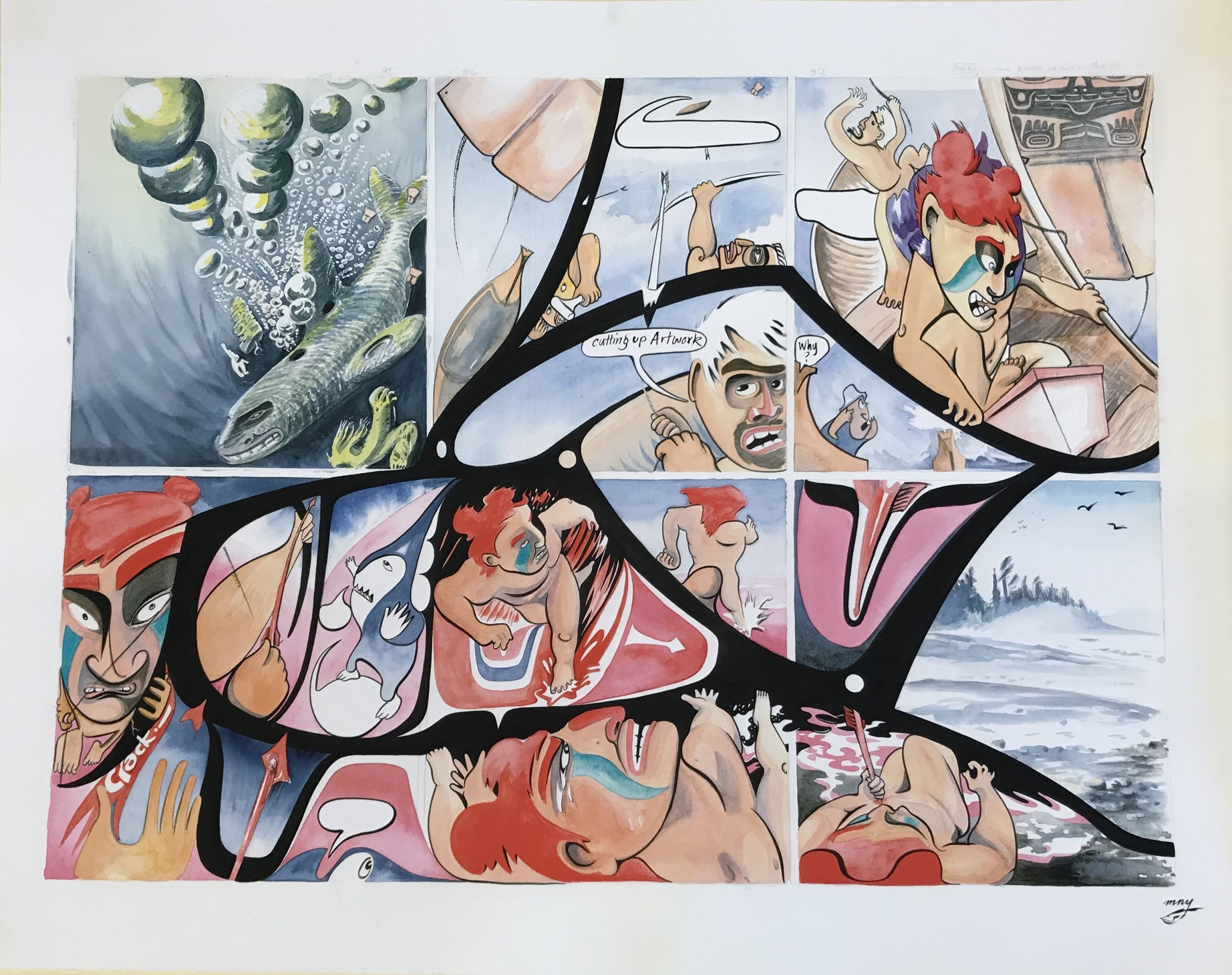 a panel from Michael Nicoll Yahgulanaas's Red