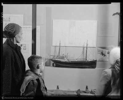 Woman and children viewing the Lincoln Ellsworth Exhibit