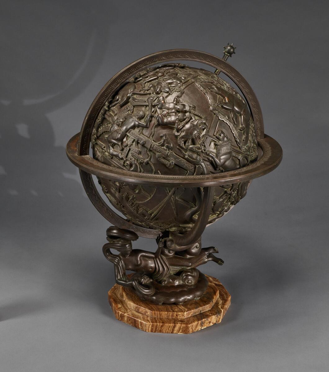 "Globe of the Zodiac [view 1]; bronze, 27"" x 20"", 64"" circumference"