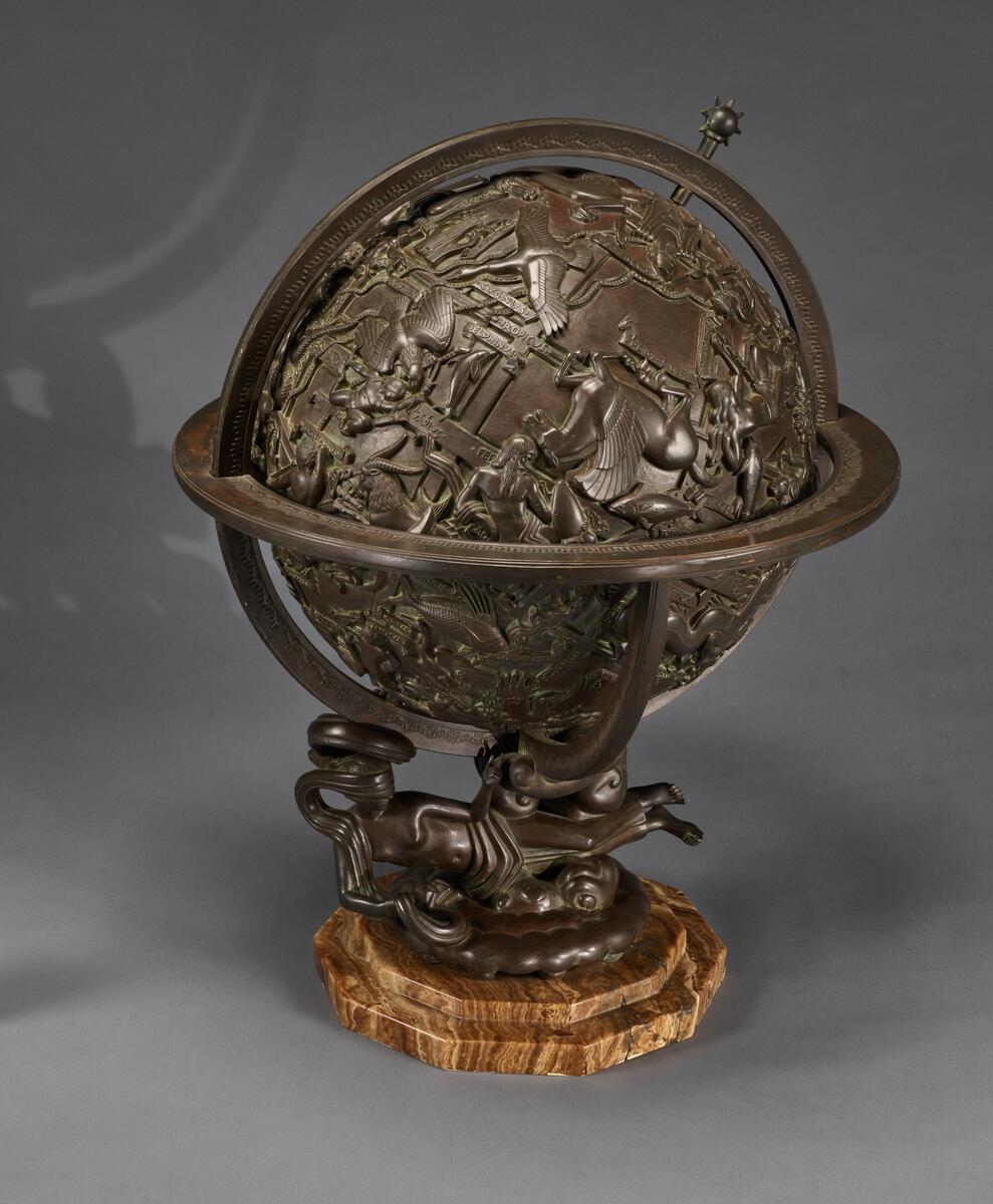 "Globe of the Zodiac [view 1]; bronze, 27"" x 20"", 64"" circumference."